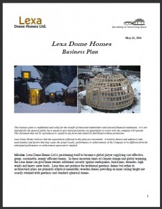 Lexa Dome Homes Business Plan Cover